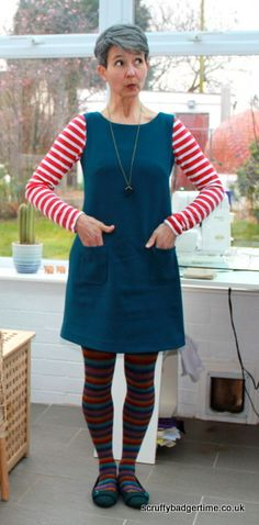 Laurel dress as pinafore - love all the stripes with plain dress