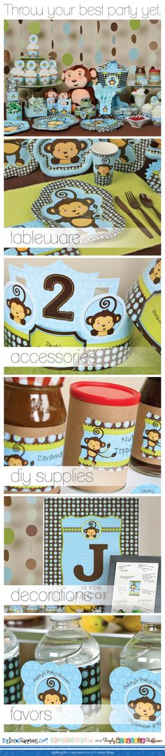 Throw your best party ever with our monkey themes! #MonkeyBoyBabyShower #MonkeyBoyBirthdayParty