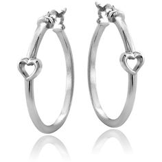 Mondevio Sterling Silver Heart Polished Hoop Earrings ($21) ❤ liked on Polyvore featuring jewelry, earrings, white, sterling silver hoop earrings, snap button jewelry, white earrings, earring jewelry and sterling silver long earrings