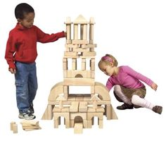 Guidecraft Classroom Unit Blocks - 110 Pieces - With 28 shapes to explore, the Guidecraft Classroom Unit Blocks - 110 Pieces will keep kids busy for hours. These solid Rubberwood blocks are offered. Preschool Block Area, Preschool Games, Activities For Kids, Wooden Blocks For Kids, Kids Blocks, Kids Fun Center, Wooden Playset, Block Play, Kids Boutique