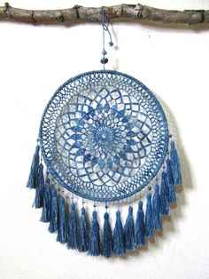 Natural life home living interior wall hanging + boho wedding decoration of crochet dream catcher stuck to the organic material, such as high-quality