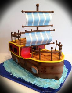Fishing Boat Birthday Cake Sweet Sweets Pinterest Boat Cake - Fishing boat birthday cake