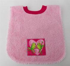 Pink Kissing Frogs Heart Valentine's Bib