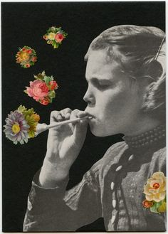 Blowing Bubbles by Angelica Paez ( flower / collage / photo montage / mixed media / art )