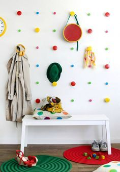 35 of the Most Colorful IKEA Hacks EVER via Brit + Co.  A couple packs of Losjon hangers mounted symmetrically can give you an art piece as well as functionality. Update a room using LOSJÖN hanger, they can either be fixed with adhesive tape on the back, which of course is primarily suitable for tiles, or with screw on all other types of walls.