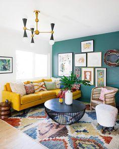 Living Room Decor Eclectic, Design Living Room, Colourful Living Room, Design Bedroom, Modern Living Room Colors, Living Room Interior, Bohemian Living, Boho Living Room, Home Living