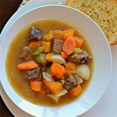 """This hearty and delicious stew is perfect for the rainy days of fall. By adding more vegetables and using reduced-sodium beef broth I make this recipe extra healthy for my family. Increasing the amount of garlic also helps ward off any colds!"""