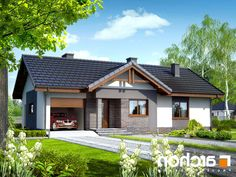 projekt Dom w nerinach lustrzane odbicie 1 House Roof, My House, Roof Styles, House Styles, Best Tiny House, Exterior House Colors, Small House Design, Home Design Plans, Home Photo