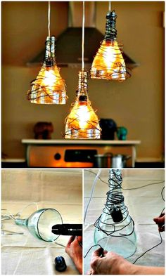How to Make Wine Bottle Pendant Lights Chandelier - 60 Easy DIY Chandelier Ideas That Will Beautify Your Home - DIY & Crafts