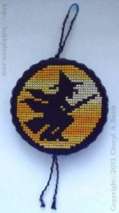 Witch Moon Free Halloween Cross Stitch Pattern - variegated DMC floss