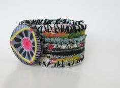 Boho Cuff Bracelet One of a Kind Multi Colored Hippy Style Reserved for HC. $20.00, via Etsy.