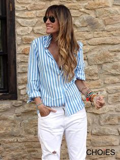 Want! Want! Want! Love this look for Summer! Love the Bracelet Collection! Blue and White Stripe Shirt + White Pants + Aviator Sunglasses #Blue_and_White #Stripes #Summer #Fashion