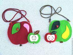 Купить Комплект детский Яблоко (сумочка + брошка) - сумочка для девочки, сумка через плечо