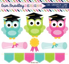 Graduation Owls Clipart with Diplomas Award & Bunting Graphics