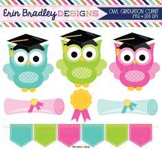 Graduation Owls Clipart With Diplomas Award Bunting Graphics
