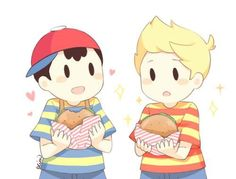 Ness eating an hamburger while Lucas is gonna eat one.