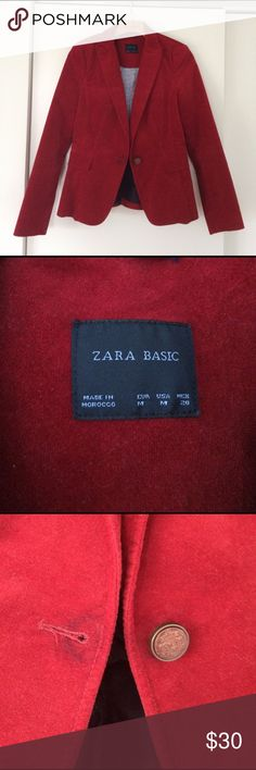 Zara Basic Plush Red Velvet Blazer Jacket M Lightly used w/ faint discoloration by button hole, good condition, looks great! Zara Jackets & Coats Blazers