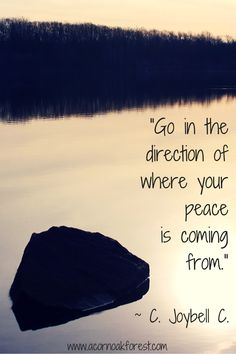 """""""Go in the direction of where your peace is coming from."""" ~C. Joybell C.   Acorn * Oak * Forest   http://www.acornoakforest.com"""