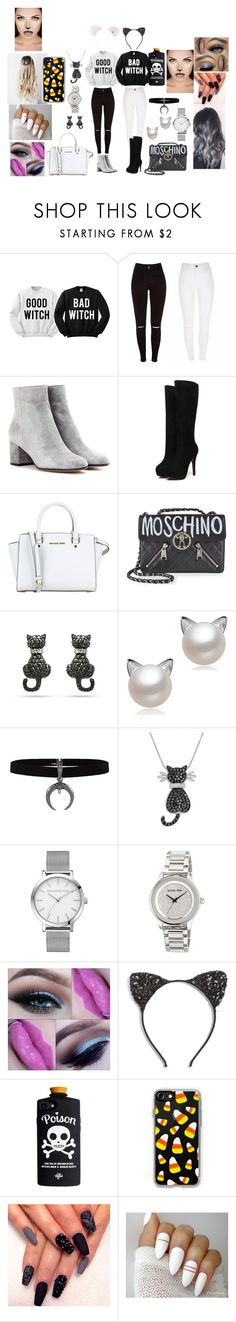 """""""Good Wich, Bad Witch"""" by joeannamarii ❤ liked on Polyvore featuring Gianvito Rossi, MICHAEL Michael Kors, Moschino, Amanda Rose Collection, Cara, Casetify and Maison Michel"""