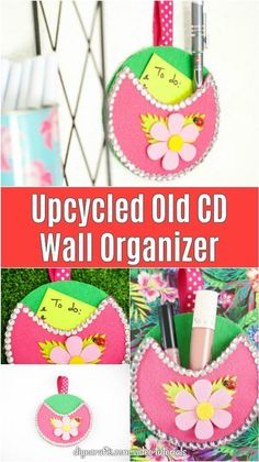 Upcycle an old CD into this adorable pocket wall organizer with just a few craft supplies. Perfect for storing a pen and notepad for grocery lists bobby pins and hair ties in the bathroom and more! Diy Beauty Projects, Diy Craft Projects, Craft Ideas, Home Crafts, Fun Crafts, Paper Crafts, Decor Crafts, Diy Upcycling, Repurposing