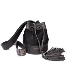 Joey Wölffer Mini Bucket Bag - Charcoal Pony Hair