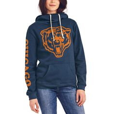 Women's Chicago Bears Junk Food Navy Sunday Funnel Neck Pullover Hoodie $69
