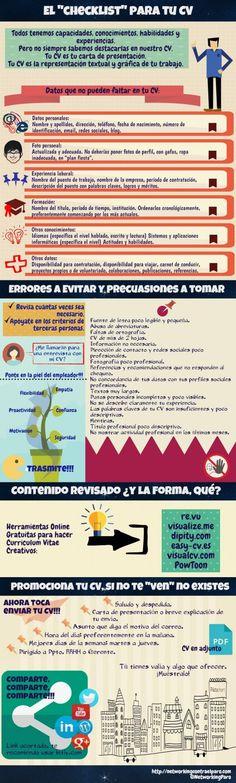 Checklist para tu Curriculum Vitae #infografia #infographic #empleo