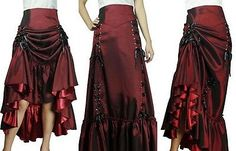 Gothic Jewelry Victorian Three Way Lace Up Renaissance Skirt Burgundy Red Gothic Victorian Steampunk Punk Viktorianischer Steampunk, Steampunk Skirt, Steampunk Costume, Steampunk Fashion, Gothic Fashion, New Fashion, Fashion Outfits, Fashion Tips, Fashion Clothes