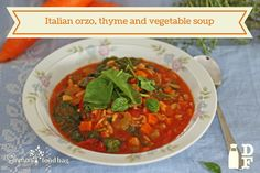 Italian orzo, thyme and vegetable soup Orzo, Chana Masala, Vegetarian Recipes, Soup, Meals, Dishes, Vegetables, Ethnic Recipes, Meal