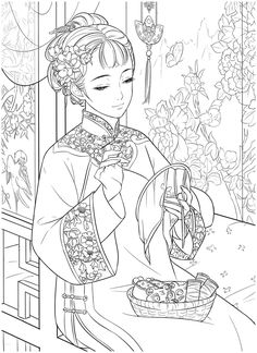 Adult Coloring, Coloring Books, Coloring Pages, Electronic Books, Chinese, Portrait, Art, Adult Colouring In, Vintage Coloring Books