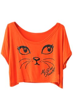 Cat Face Print Orange T-shirt. Description  Orange T-shirt, featuring scoop neck, this T-shirt has been crafted from soft cotton fabric, cat face print on front, loose styling, in a regular fit.  Fabric  Cotton  Washing  40 degree machine wash, do not bleach, do not tumble dry, cool iron on reverse, do not dry clean. #Romwe