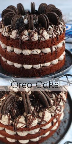 A Three Layer Oreo Cake Spectacular with Chocolate Sponges Oreo Buttercream Frosting and even more Oreos on top! Oreo Cake Recipes, Baking Recipes, Dessert Recipes, Chocolate Oreo Cake, Chocolate Sponge, Chocolate Chips, Food Cakes, Cupcake Cakes, Janes Patisserie