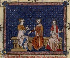 Lancelot du Lac (Belgique, Hainaut, XIVe siècle), Paris, Bibliothèque Nationale, Fr.122, f°146, « Guenièvre et Bohort l'Essilié ». DOSSIER ICONOGRAPHIQUE