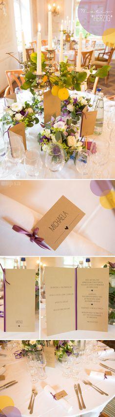 sommerliches Hochzeitskonzept mit dem *herzig*-Motiv auf Kraftpapier