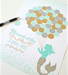 Mermaid Baby Shower Decor Aqua Mermaid Shower Decorations Mint and Gold Baby Girl Shower Mermaid Birthday Party Guestbook Shower Guest Book