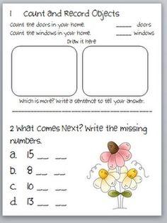 Kindergarten Common Core Activity Page