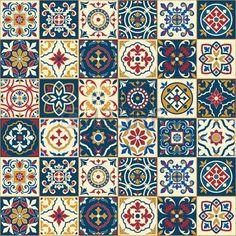 motif tissu indigo: Seamless blanc magnifique, carreaux portugais marocains colorés, Azulejo, ornements. Peut être utilisé pour le papier peint, motifs de remplissage, fond de page web, des textures de surface. Illustration