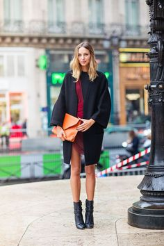 Women's Black Coat, Burgundy Bodycon Dress, Black Leather Lace-up Ankle Boots, Orange Leather Clutch Leather And Lace, Orange Leather, Black Leather, Leather Clutch, Burgundy Fashion, Burgundy Dress, Summer Vegas Outfit, Summer Outfits, Lace Dress Black