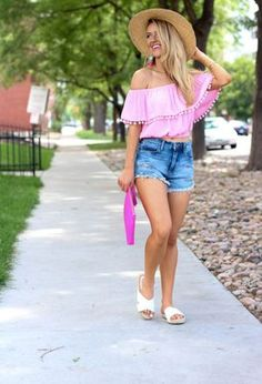 Look by @malaku2_ok with #short #flats #casual #forever21 #shorts #croptops #jewelry #style #charmingcharlie #lotd #blanknyc #ruffles #offtheshoulders #pom #whiteflats #coolshorts #pinkbags #pinktshirts #turquoiseshorts.