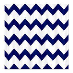 Chevron Shower Curtain Navy Blue Hot Pink White Zig Zag Stripes