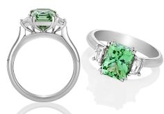 Radiant Green Tourmaline and Diamond Ring Exclusive to Natalie Barney Jewellery Design, this engagement ring displays an amazing radiant cut  mint green tourmaline flanked by cadi step-cut diamonds. A beautiful ring with an Art Deco style! Available in YG, WG and Platinum Can be made with other coloured gemstones Starting at AU$6,500 in 18ct White Gold