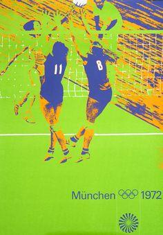 Joksch Aicher and Nagy Wirthner Original Poster: Olympic Games 1972 - Volleyball