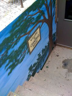 """#Mural at my girls old daycare """"Grandma's House"""" painted on a boring cold concrete wall"""