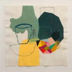 Still Life + Beaker | Maxine Sutton, Screen print, appliqué, embroidery and needle punch on wool felt. 50cm x 50cm