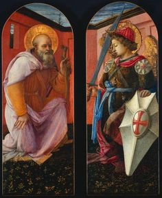 A1273   Filippo Lippi   St Anthony and Archangel Michael   1458   Painting   Tempera on panel 94 x 40 cm   Cleveland Museum of Art   Cleveland, USA   Inv. nr. 1964.150.1