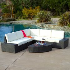 Werder 6 Piece Deep Seating Group in Charcoal Grey with White Cushions