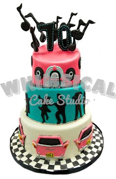 Classic 50's birthday cake design.  Complete with music, records, dancing silhouettes, and cars. Happy 70th birthday!