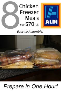 One Hour 8 Chicken Freezer Meals under $70 at Aldi :: 8 easy to assemble chicken meals for your freezer! You can make these dinners in one hour or less at $10 or less per serving! Great way to stock your freezer for summer.