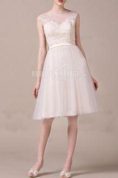 Col rond robe de mariée civile tulle ceinture robe pas cher