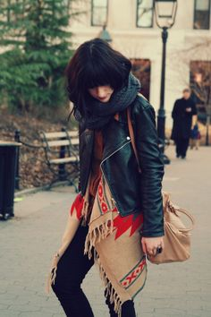 Blanket cardi and biker leather!